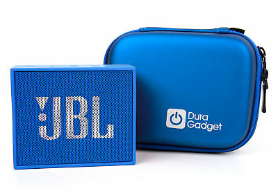 Blue Portable Speaker Case/Pouch & Belt Clip For JBL GO w/ Dual Zips