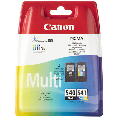Genuine Canon PG540 Black & CL541 Colour Ink Cartridges for Pixma MG3550 MG3150