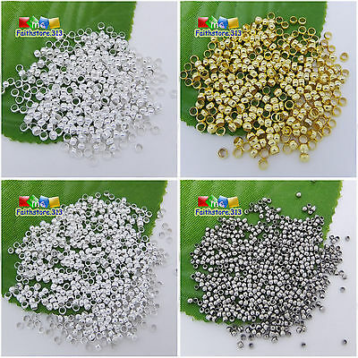 500 pcs Gold Silver Rondelle Spacer Crimp End Beads Findings 1.5mm,2mm,2.5mm,3mm