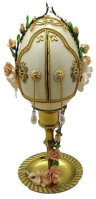 Hand-Decorated Real GOOSE Egg Art Front Open 2 Doors WEDDING COUPLE Collectable