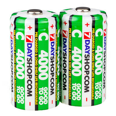 2x 7dayshop Good To Go C Cell Rechargeable Batteries NiMh Pre-Charged HQ 4000mAh