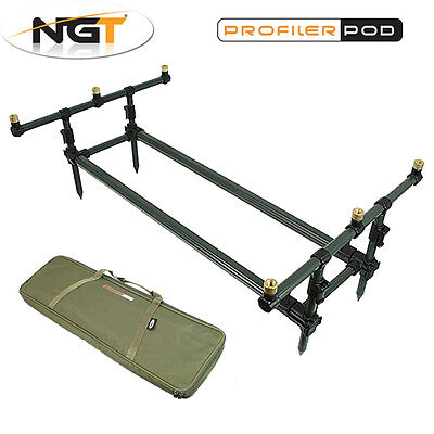 NGT Profiler Rod Pod Tripod Low Frame with Deluxe Case & 3 Rod Buzz Bar