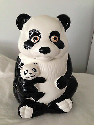 VINTAGE MAMA AND BABY PANDA SNUGGLING COOKIE JAR CERAMIC POTTERY