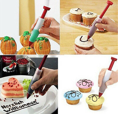 Silicone Plate Writing Pen Cake Pastry Food Drawing Painting Decor Syringe Mold