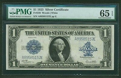 1923 $1 SILVER CERTIFICATE BANKNOTE FR-238 GEM UNCIRCULATED CERTIFIED PMG-65-EPQ