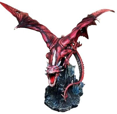 "Large 20.5"" Long Fire Solar Burning Aro Dragon Flying In Attack Statue Sculpture"