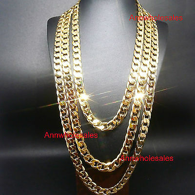 """24""""/27""""/30"""" 10Mm Hot Sale 24Kgl Yellow Gold Filled Smooth Chain Link Necklace"""