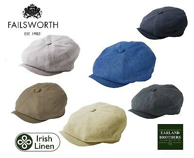 New Failsworth Alfie Cap Peaky Shelby Cap Baker Boy Newsboy Irish Linen Button