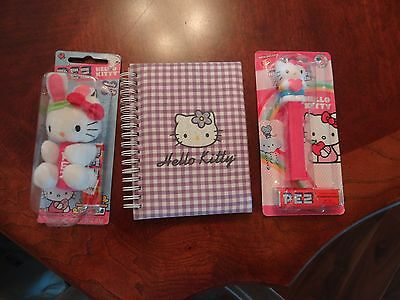 NEW LOT OF 3 PEZ Hello Kitty Plush Bunny Candy Dispenser&Clip Pink ADDRESS BOOK