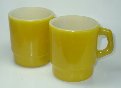 Vintage Anchor Hocking Fire King Stackable Mugs Handle Yellow SET of 2  LOT FREE
