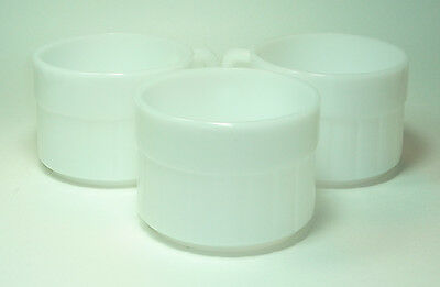 LOT of 3  Vintage FEDERAL Stacking Barrel Mugs Cups White Milk Glass Heat Proof