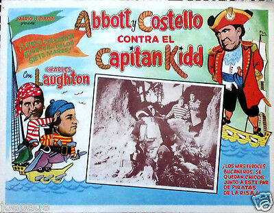 ABBOTT AND COSTELLO MEET CAPTAIN KIDD 1952 Mexican Lobby Card CHARLES LAUGHTON
