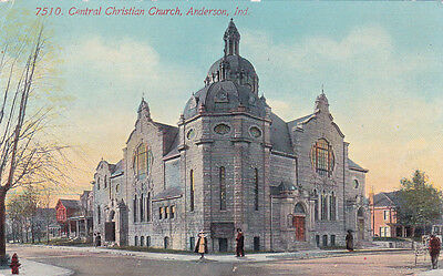 Indiana ANDERSON Central Christian Church Building 1915 Vintage Old Postcard IN