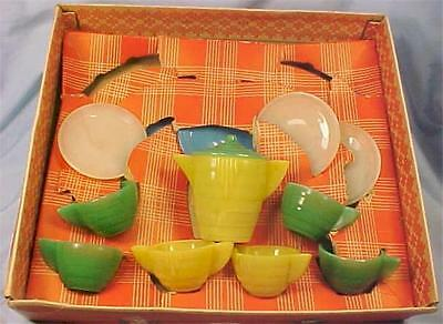 Akro Agate American Maid Tea Set Concentric Ring !6 Pc in Box Vintage Childs Toy