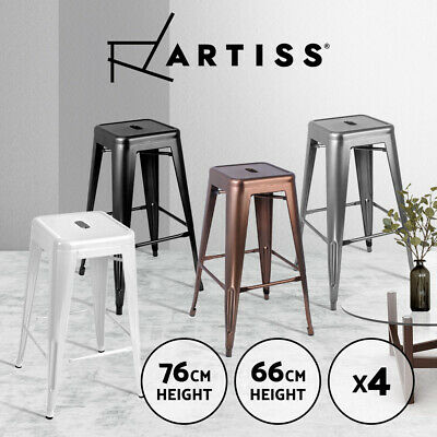 4x Replica Tolix Xavier Bar Stool Metal Steel Kitchen Cafe Home Dining Chairs