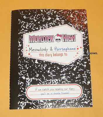 Monster High Werecat Twin Sisters Purrsephone Meowlody Diary Journal Booklet NEW