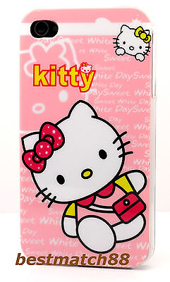 for iPhone 4 4s hard back hello kitty case pink hot pink white + film //