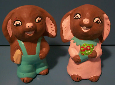 Vintage 70's Small Pair of Brown Ceramic Bunny Figurines HP