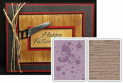 Embossing Folders INK SPLATS AND WOOD PLANKS 658726 by SIZZIX Tim Holtz distress
