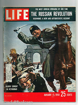 1958 January 13 : Vintage Vtg LIFE Magazine : Bloody Sunday Petrograd, Russian