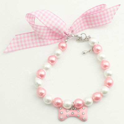 Lovely Charming Pets Dog Pearls Necklace Collar With Rhinestones Bone Dog Decor