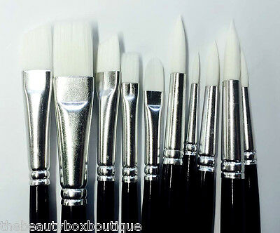 10 X Face Painting Brushes - Round Flat Tip Art Paint Brush Professional Genuine