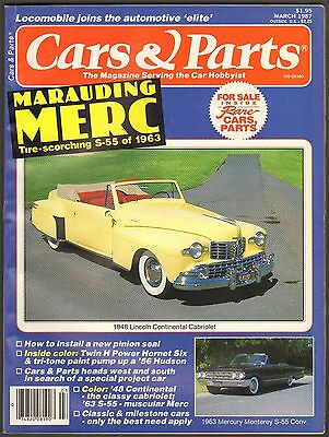 MARCH 1987 CARS & PARTS MAGAZINE 1948 LINCOLN, 1963 MERCURY MONTEREY