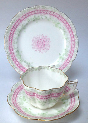 Foley Wileman Shelley 153594 British China Teacup Saucer Trio Daisy Snowdrop Pin