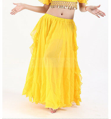 professional Belly Dance costume skirt side fringes big chiffon skirt yellow