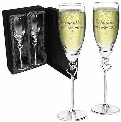 Personalised Heart Stem Champagne Flutes Wedding Engagement Valentines Engraved