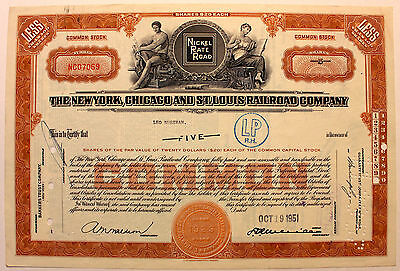 Original 1951 New York Chicago St. Louis Railroad Stock Certificate Nickel Plate