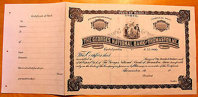 Original Vintage Georges National Bank of Thomaston Maine Stock Certificate