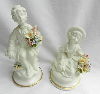 Pair of Marcolin Capodimonte Porcelain Figures - Boy & Girl With Flowers