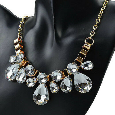 Fashion Clear Gem Bright Rare Resin Gold Plated Statement Bib Necklace LC360K