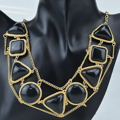 New Gorgeous Golden Chain Solid Black Jelly Resin Statement Bib Necklace LK22K