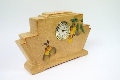 Vintage 1930's Art Deco Earthenware Type Pottery Clock by Baroda - Hand Painted