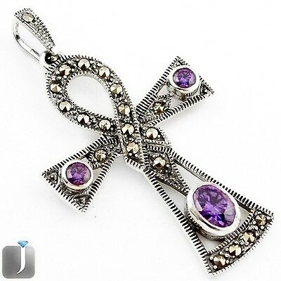 2.51cts NATURAL PURPLE AMETHYST MARCASITE 925 STERLING SILVER PENDANT F29157