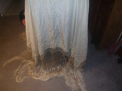 ANTIQUE VICTORIAN GOLD SILK PIANO SHAWL SCARF COVER TABLECLOTH WITH FRINGE