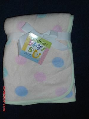 CUDDLEY BABY~30X40~PEACH WITH DOTS~FLEECE BABY BLANKET~NEW