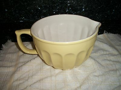 Vintage Yellow & White Pottery Handled Mixing/Pouring  Bowl