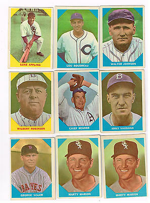 1960 Fleer beautiful 9 card baseball card lot all different (all crease free)!