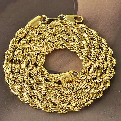 24inches 9k real gold filled mens rope chain necklace F4027