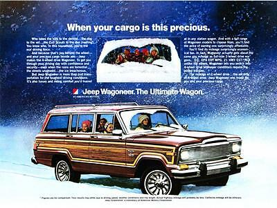 """1980 Jeep Wagoneer in Snow photo """"Your Cargo is Precious"""" vintage print ad"""