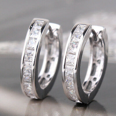 WHOLESALE 1 PAIR SILVER PLATED CZ SMALL ROUND HUGGIE HOOP EARRINGS FREE SHIPPING