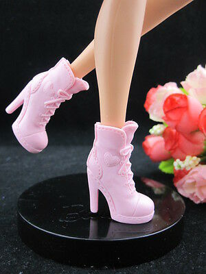 pink New Handmade boot shoes For Barbie Girl Doll Hot Free Ship a98