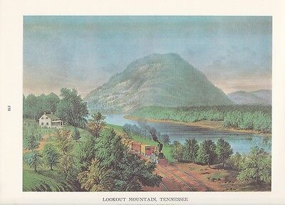 """1974 Vintage Currier & Ives RAILROADS """"LOOKOUT MOUNTAIN, TENNESSEE"""" COLOR Litho"""