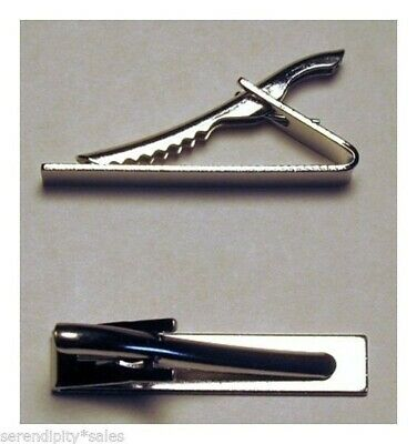 """50 TIE BAR Findings SILVER Flat Gluable Surface 1.6"""" long x .3"""" wide~Strong CLIP"""