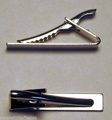 "96 Tie Bar Clips Silver Metal ~ Flat Surface 1.6"" long x .3"" wide ~ Strong grip"