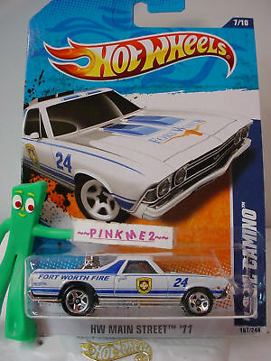 2011 Hot Wheels '68 Chevy EL CAMINO 1968 #167 US~WHITE ~ Fort Worth Fire ~ Case
