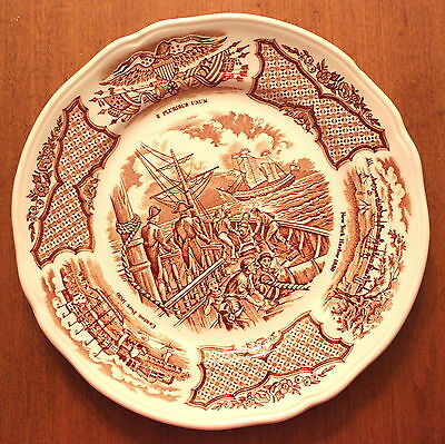 Set of 4 Bread Plates Alfred Meakin Fair Winds in Brown Historical Scenes S1